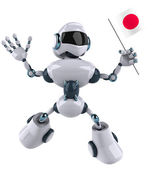 Robot with Japanese flag — Stock Photo