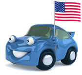 Car with flag — Stock fotografie
