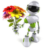 Robot with flowers — Stock Photo