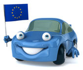 Car with European Union flag — Stock Photo