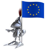 Knight with European Union flag — Foto Stock