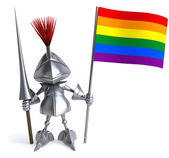 Knight with gay rainbow flag — Photo