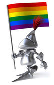 Knight with gay rainbow flag — ストック写真