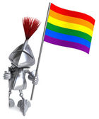 Knight with gay rainbow flag — Stock Photo