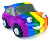 Car with gay flag on it — Stok fotoğraf