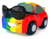 Car with gay flag on it — Stock Photo