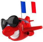 Avion avec drapeau français — Photo