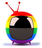 TV set with gay flag on it — Stock Photo