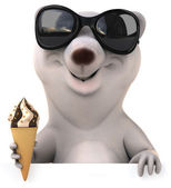 White bear with icecream — Stock Photo