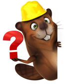 Beaver with question mark — Stock Photo