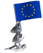 Knight with European Union flag — Stock Photo