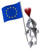Cavaleiro com a bandeira da união europeia — Foto Stock