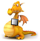 Dragon with tablet computer — Foto de Stock