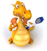 Fun dragon with toothbrush — Stockfoto