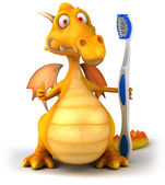 Fun dragon with toothbrush — Zdjęcie stockowe