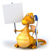 Fun dragon with toothbrush — Foto Stock