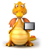 Dragon with tablet computer — Stockfoto