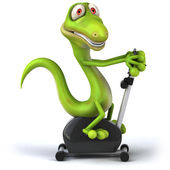 Lizard working out on bicycle — Stock Photo
