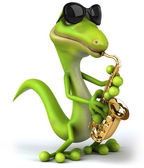 Lizard playing saxophone — Stock Photo