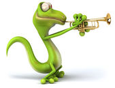 Lizard playing trumpet — Stock Photo