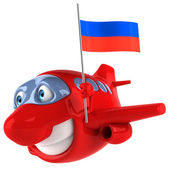 Plane with Russian flag — Stok fotoğraf