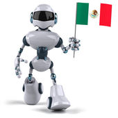 Robot with Mexican flag — Foto Stock