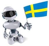 Robot Swedish flag — Stock Photo