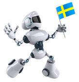 Robot Swedish flag — Stock Photo