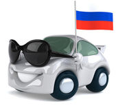 Car with Russian flag — Stock Photo