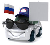 Car with Russian flag — Stockfoto