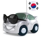 Car with South Korea Flag — Stock Photo