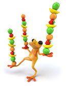 Fun frog with fruits — Stock Photo