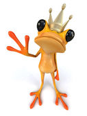 Fun frog in crown — Stock Photo