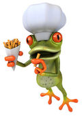 Chef frog with french fries — Stock Photo
