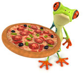 Fun frog with pizza — Photo
