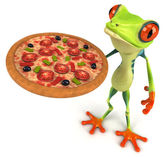 Fun frog with pizza — Stock Photo