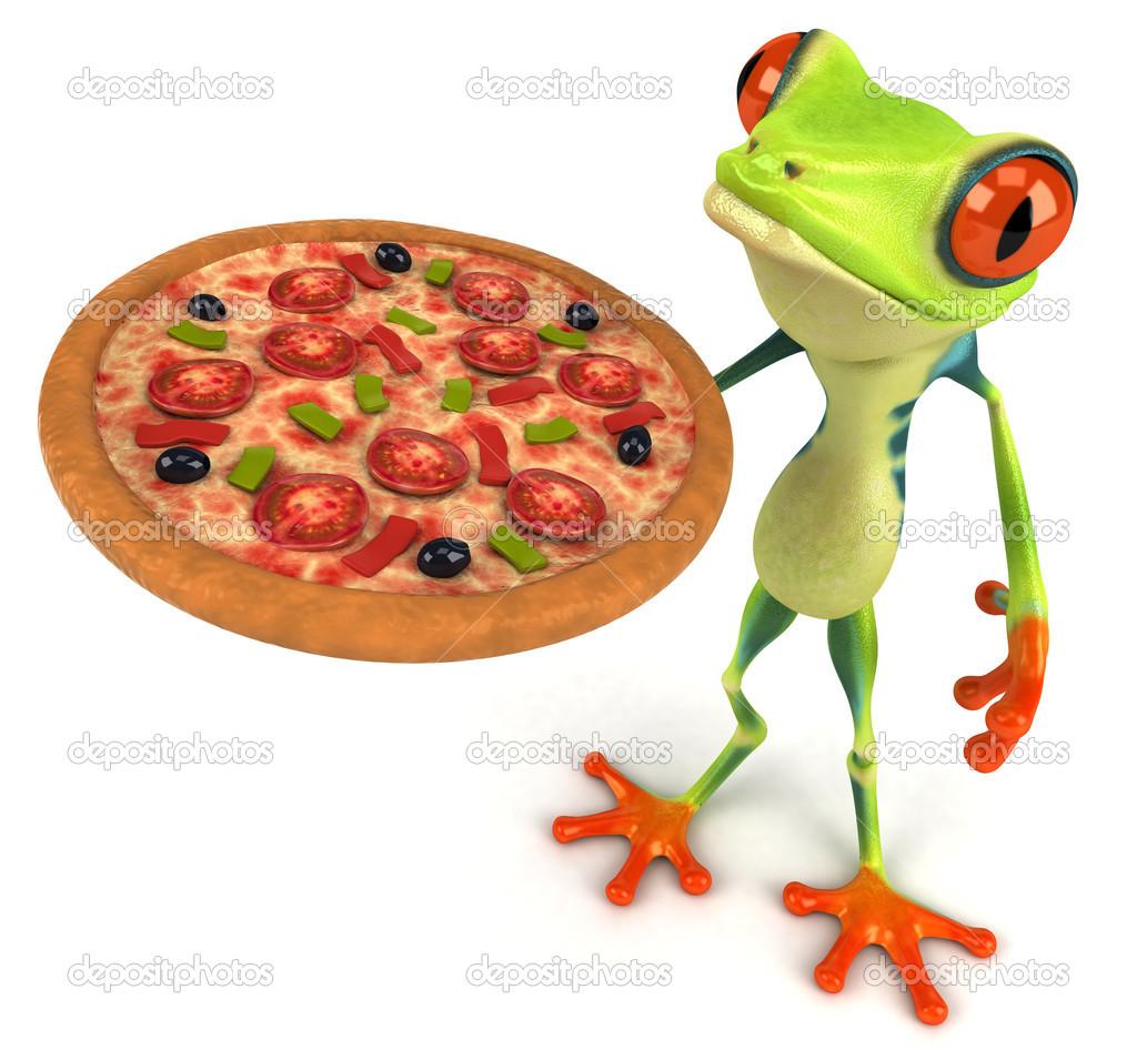 lustige frosch mit pizza stockfoto julos 50304739. Black Bedroom Furniture Sets. Home Design Ideas