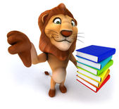 Lion thumbs down gesture with books — Stock Photo