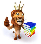 Lion thumbs up gesture with books — Stock Photo