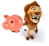 Lion with piggy bank — Stock Photo