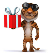Tiger with present — Stock Photo