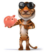 Tiger with piggy bank — Stock Photo