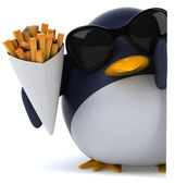 Fun penguin and french fries — Stock Photo