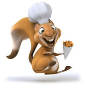 Chef squirrel with french fries — Stock Photo