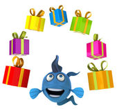 Fun fish with presents — ストック写真