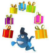 Fun fish with presents — Foto Stock