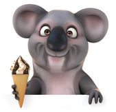 Fun Koala with ice cream — Stock Photo