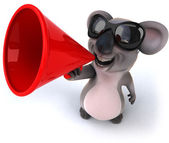 Koala with red loudspeaker — Stock Photo