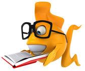 Fun fish reading book — Stock Photo