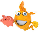 Fun fish with piggy bank — Stock Photo